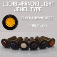 Warning Light Jewel - Amber Lens, Black Bezel