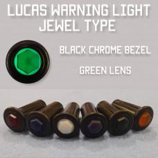 Warning Light Jewel - Green Lens, Black Bezel